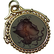 Antique Victorian 14K Gold Intaglio of Mercury Watch Fob Necklace Pendant