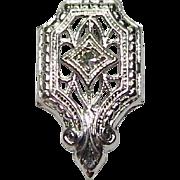 Antique Art Deco 14K White Gold Diamond Stick Pin