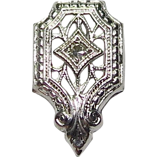 Antique Art Deco 14K White Gold Diamond Stick Pin