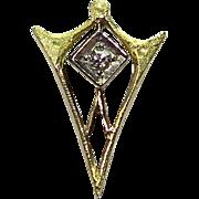 Antique Art Deco 10K Gold Diamond Stick Pin