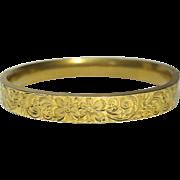 Antique Edwardian Gold Rolled Floral Etched Hinged Bangle Bracelet