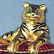 SOLD Figural Signed Bob Mackie Bengal Tiger on Reticulated Tassel Pillow Brooch ~ Mint!
