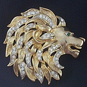 SOLD Signed Craft ~ Majestic King-of-the-Jungle Brooch