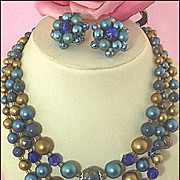 SOLD Signed Japan Triple-Strand Plastic & Glass Teal & Metallic-Bronze Necklace & Ear Clips Se