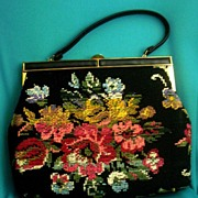 SOLD Vintage Carpet~Tapestry Floral Bouquet Handbag