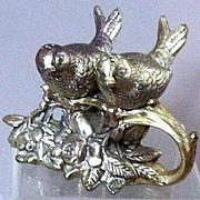 SOLD Victorian Figural Silver-Plate Love Birds-on-Branch Salt & Pepper Set