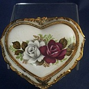 "SOLD Vintage Heart-Shape Musical Jewelry Box with Roses ~ Plays ""Close to You"""