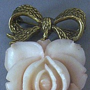 SOLD Vintage Carved Celluloid Romantic Rose Brooch