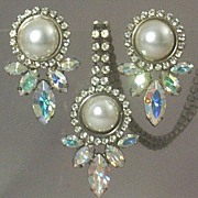SOLD Stunning Vintage Simulated Mabe' Pearl & Glitzy Navettes Parure ~ Necklace & Earrings Set