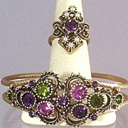 SOLD Sarah Coventry Austrian Lites Clamper Bracelet & Bonus Co-ordinating Ring