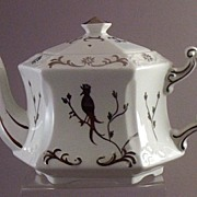 SOLD Ellgreave ~ England Pottery Teapot  - Applied Silver-Finish Gilded Bird Motiff