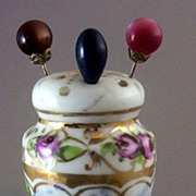 SOLD Antique Victorian Hand-Painted Roses Porcelain Hat-Pin Holder (with Hat-Pins Bonus)