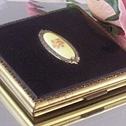 SOLD Evans Circa 20's Enameled & Pink Guilloche-Rose Compact