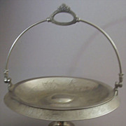 SOLD Antique Victorian Quadruple Silver-Plated Pedestal Bride's Basket (Cake Stand) -- Engrave