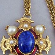 SOLD Regal Heraldic Renaissance -Style Pendant - Marked 3587