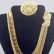 SOLD Vintage Bold Waterfall-Bib Necklace 14-Chain Drape & FREE BONUS Brooch