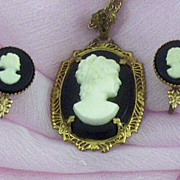 SOLD Lovely Art Deco Era Prong-Set Cameo Pendant & Earrings Set