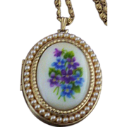 SOLD Avon Sweet Violets Picture-Locket with Imitation Seed Pearls