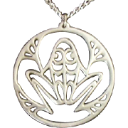 SOLD Whimsical Reed & Barton Pewter Openwork Frog Necklace