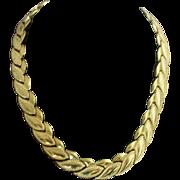 SOLD Vintage Signed Monet Sophisticated Leaf-Link Collar Necklace
