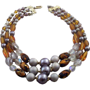 Vintage Japan Art-Glass & Beaded Triple-Strand Necklace