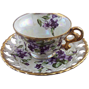 SALE Vintage Royal Sealey Lusterware & Violets Teacup & Reticulated Saucer