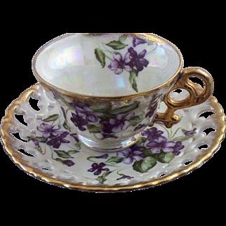 SALE Vintage Royal Sealey Lusterware & Violets Teacup & Reticulated Saucer