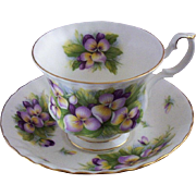 Vintage E & R (England) Bone China Teacup & Saucer Set with Violets