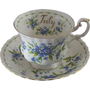 "Vintage Royal Albert ""July"" Teacup & Saucer Set with Forget-Me-Nots"