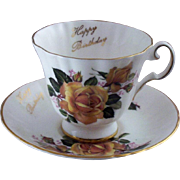 "SALE Vintage Royal Grafton Fine Bone China ""Happy Birthday"" Teacup & Saucer Set (Num"