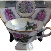 SALE Vintage Paneled-Roses & Gold-Stamped  Lusterware Teacup & Saucer Set