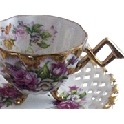 SALE Vintage NAPCO Originals Hand-Painted Roses Footed Teacup & Reticulated Saucer