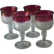 REDUCED Vintage Set (4) Indiana Glass Diamond Point & Ruby Flash Stemware