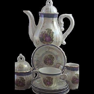 SALE Vintage Japan 13-Pc Dolls/Childs Tea Set ~ Porcelain & Lusterware w/Scene