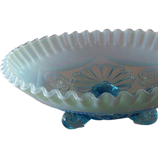 SALE Vintage Fenton Art Glass Opalescent Blue Crimped & Draped 3-Footed Bowl