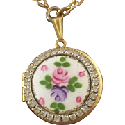 SALE Vintage Guilloche Enamel & Rhinestone Locket & Hand-Painted Rose with Free Bonus Set