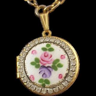 SALE Vintage Guilloche Enamel & Rhinestone Locket & Hand-Painted Rose with Free Bonus Set