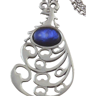 SALE Vintage Reed & Barton Pewter & Simulated Lapis Peacock Necklace