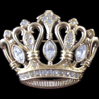 SALE Vintage 1988 Kenneth J Lane (for Avon) Crown Rhinestone Brooch