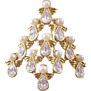 SOLD Signed NR (for Avon) - Angels Christmas Tree Pin - Simulated Pearls & Glass