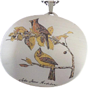 REDUCED Signed Reed & Barton (Audubon) Cardinals Damascene Necklace