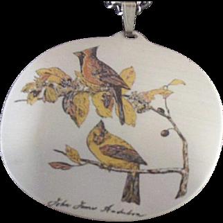 REDUCED Signed Reed & Barton (Audubon) Cardinals Damascene Necklace