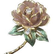 SALE Vintage R. J. Graziano England's Rose (Princess Diana) Enameled & Rhinestone Brooch