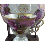 SALE Vintage Royal Halsey Very Fine Exotic Pink Orchids Teacup & Saucer Set