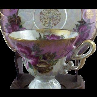 SALE Vintage Royal Halsey Very Fine Exotic Pink Orchids Teacup & Saucer Set