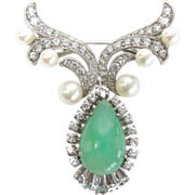 REDUCED Sterling Chrysoprase, Pearl and Cubic Zirconia Pin