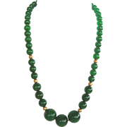 Vintage Dark Green Bakelite Bead Necklace