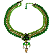 1950s Eugene Green and Crystal 3 Strand Necklace with Filigree and Rhinestones