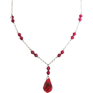 REDUCED Czech Faceted Red Glass Drop  Vintage Necklace