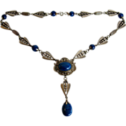 Art Nouveau Transitional Arts & Crafts Blue Czech Glass Necklace